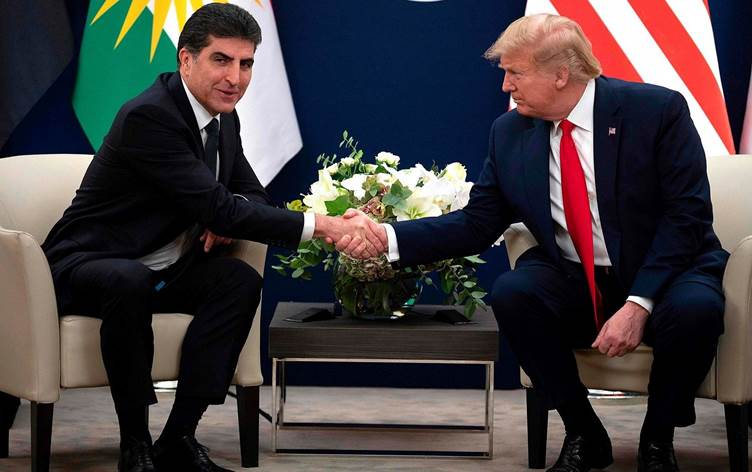 Barzani e Trump a margine del World Economic Forum di Davos 2020